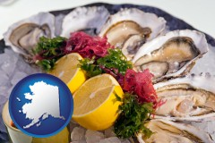 alaska map icon and raw bar oysters