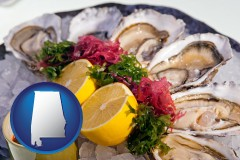 alabama map icon and raw bar oysters