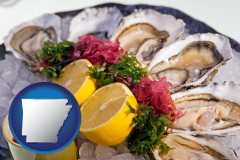 arkansas map icon and raw bar oysters