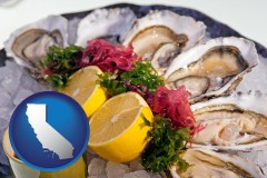 california map icon and raw bar oysters