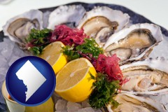 washington-dc map icon and raw bar oysters