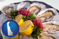 delaware map icon and raw bar oysters