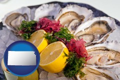 kansas map icon and raw bar oysters