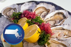 massachusetts map icon and raw bar oysters