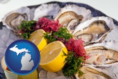 michigan map icon and raw bar oysters