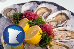 minnesota map icon and raw bar oysters