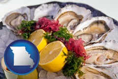missouri map icon and raw bar oysters