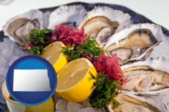 north-dakota map icon and raw bar oysters