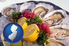 new-jersey map icon and raw bar oysters