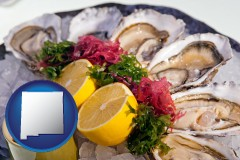 new-mexico map icon and raw bar oysters