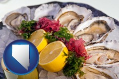 nevada map icon and raw bar oysters