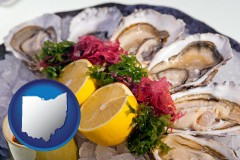 ohio map icon and raw bar oysters