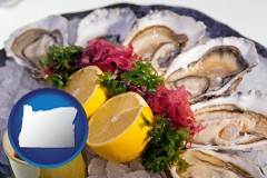 oregon map icon and raw bar oysters