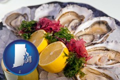 rhode-island map icon and raw bar oysters