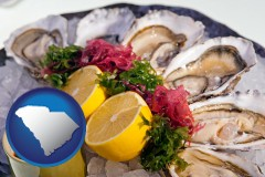 south-carolina map icon and raw bar oysters