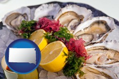 south-dakota map icon and raw bar oysters