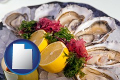 utah map icon and raw bar oysters