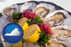 virginia map icon and raw bar oysters