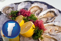 vermont map icon and raw bar oysters