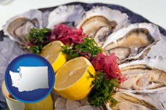 washington map icon and raw bar oysters