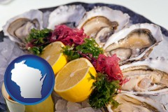 wisconsin map icon and raw bar oysters