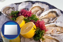 wyoming map icon and raw bar oysters
