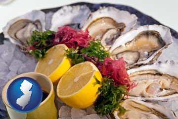 raw bar oysters - with New Jersey icon
