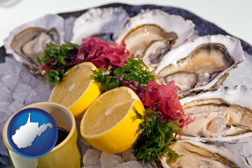 raw bar oysters - with West Virginia icon